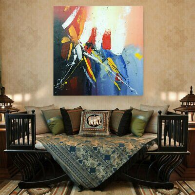 Framed Hand-painted Abstract Oil Painting On Canvas Wall Art Splashes of Color