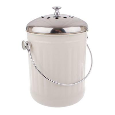 Kitchen Compost Bin White Waste Composter Food Garden Recycling Scrap Trash 5L