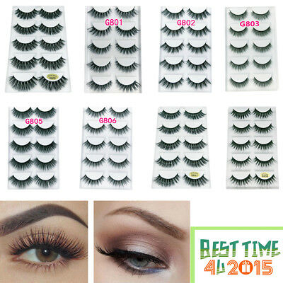 Hot 5Pairs 3D Fake Eyelashes Long Thick Natural False Eye Lashes Set Mink Makeup