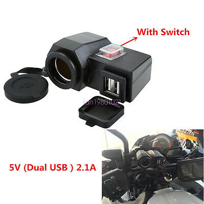 2USB Motorcycle Charger + Switch Cell Phone GPS Power Supply Socket Cigarette