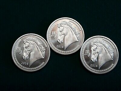 (Lot of 3) 2014 1 troy oz Year of the Horse Silver Round Provident Metals