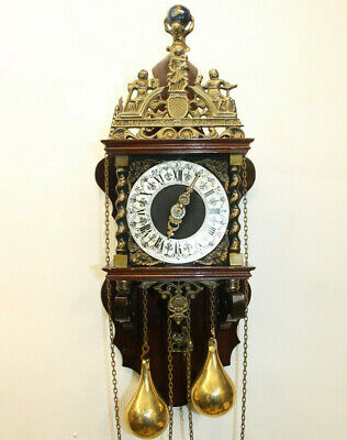 Old Wall Clock Dutch Zaanse Zaandam Warmink Wuba 8 Day Clock heigth 62cm