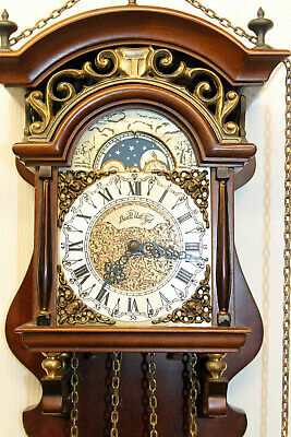 Old Wall Clock Dutch Sallander Clock Vintage with Moonphase Warmink FHS