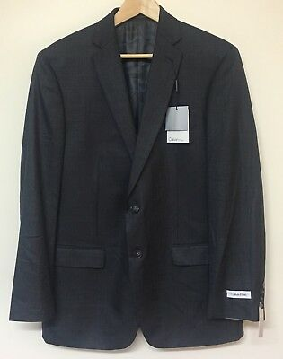 Calvin Klein Mens Two Button Suit Jacket Steel New - Size 40R RRP $500+