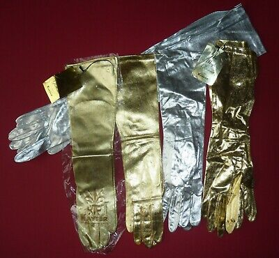 Lot Of 5 Pairs Of Unworn Vintage Metallic Gloves W/ Tags~Silver & Gold~1960s