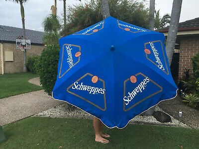 Vintage Schweppes Advertising Umbrella Cotton Cloth Screen Printed Rare
