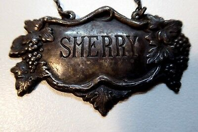 Sherry Bottle Label Silver Plated Embossed Grapevine  - Stamped Albion