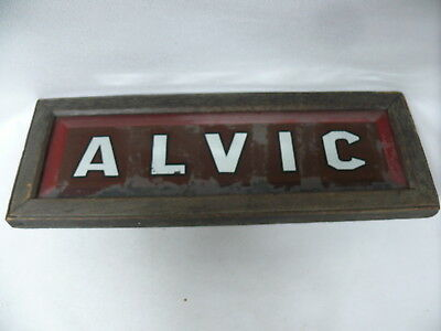 "Antique Original House Name Sign "" Alvic ""  Framed Mirrored Writing Painted"