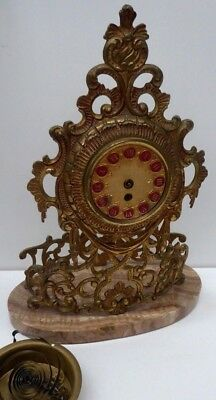 Ornate Cast Ormolu Clock On Marble Stone Base Enamel Numerals Estate Clearance