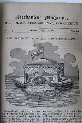 1830 Antique Leather Mechanics Magazine Museum Vol Xxiviii Steam Paddle Shipping