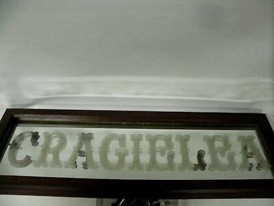 "Antique Original House Name Sign ""Cragielea "" Etched Mirror Glass"