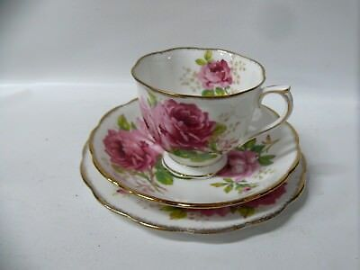 Royal Albert American Beauty Rose Floral Trio Cup Saucer Plate Bone China