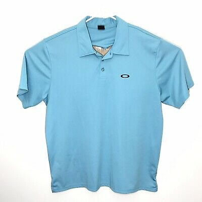 Oakley Golf Polo Shirt Mens XL Teal Blue Stretchy Embroidered Black Logo