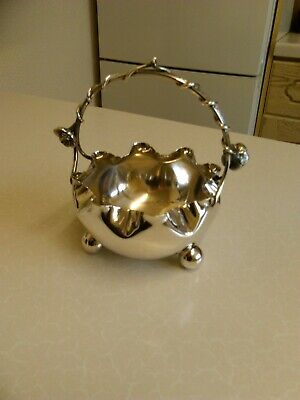 Vintage Silver Plated Sugar Bowl with Wire Handle (1755)