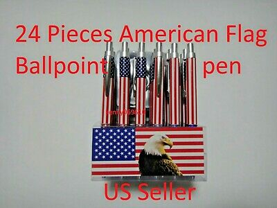 24X-BLACK Ballpoint American Flag Ink Pen w. silver clip US Seller