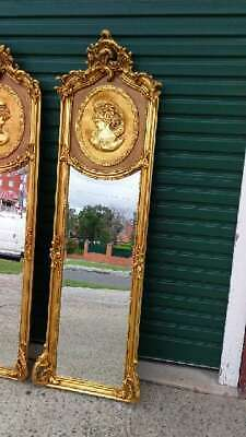 Antique Style Baroque French Gloss Gold Cameo Trumeau / Pier Floor / Wall Mirror