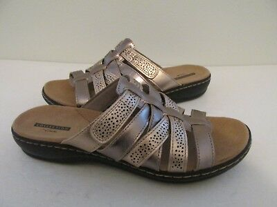 7cffec61bc5 Collection by Clarks Leisa Field Womens Size 8.5W Metallic Leather Sandals
