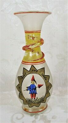 Antique Hand Painted Folk Art Glass Vase Gnome Painting Snake on Neck