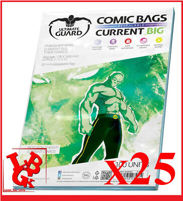 Pochettes Protection CURRENT BIG Size REFERMABLES comics VO x 25 Bags #NEUF#