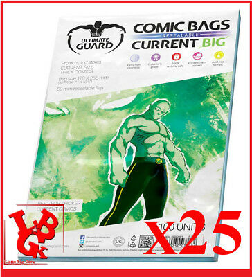 Pochettes Protection CURRENT Size BIG REFERMABLES comics VO x 25 Bags #NEUF#