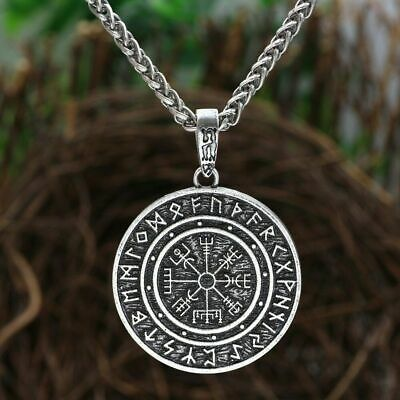 Odin Symbol Runic Rune Amulet Vegvisir Compass Nordic Talisman Pendant Necklace