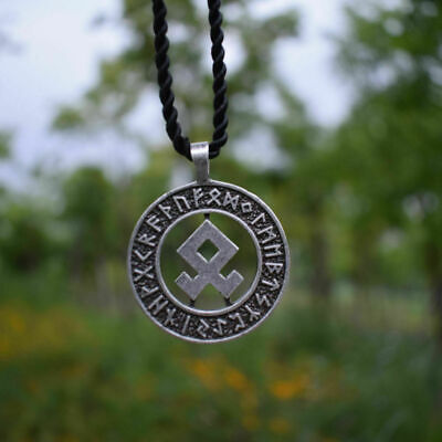 viking odal rune round pendant necklace Jewelry Hollow Amulet Pendant Runic