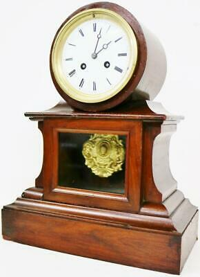 A Fine Antique French Mahogany Mantel Clock 8 Day Bell Striking Visible Pendulum