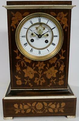 Fine Antique French 8Day Rosewood Mantel Clock Satinwood Floral Inlay For Repair