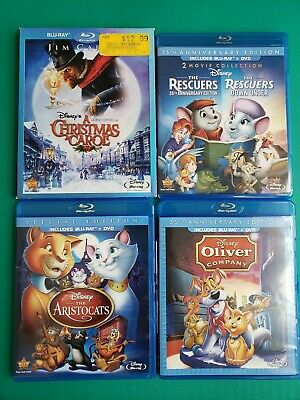 Dinsey Bundle Lot Christmas Carol The Rescuers  1 & 2 Aristocats Oliver And...