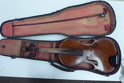 Antique Wooden Violin Original Case  Old  Estate Piece - Unrestored