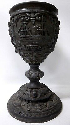 Embossed Antique Pewter Britannia Metal Goblet Chalice Urn Sailing Ship Sailors