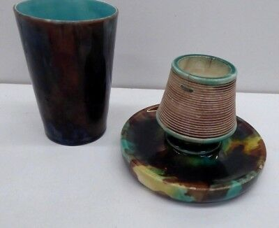 Antique Majolica Wedgwood Tumbler Cup & Match Strike Holder Stapled
