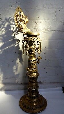 Antique Tibetan Brass Censor Sukunda Floor Standing Temple Oil Burner Ganesh #2