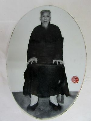 Early Antique Milk Glass Photograph Japanese Man Signed