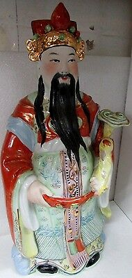 Old Chinese Immortals Porcelain Statue Figurine Stamped To Base Hand Painted