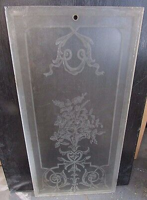 Antique Etched Glass Victorian French Door Pane Panel Salesmans Sample #9