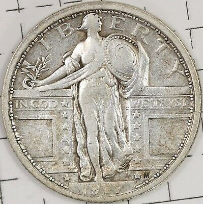 1917 Type 1, Standing Liberty Quarter. Fine Details.
