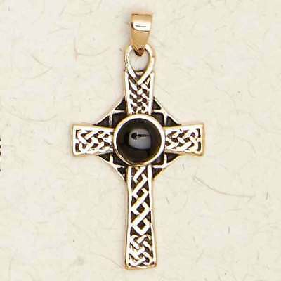 Celtic Cross with Black Stone-Bronze/Medieval/Gold/Pendant/Jewelry