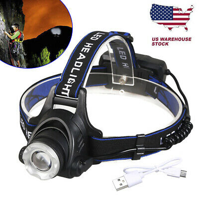 Waterproof 250000LM T6 LED Headlamp Headlight Flashlight HeadTorch 18650 Camp US