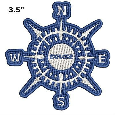 Compass Explore Embroidered Patch Iron-On Souvenir Travel Nature National Parks