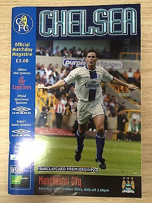 football programme Chelsea Vs Manchester City Saturday 25th October 2003 Vintage