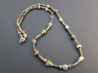 NILE  Ancient Egyptian Amulet Mummy Bead Necklacae ca600 BC