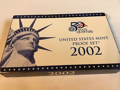 2002 S United States Mint 10 Piece Proof Set in Original Mint Box with COA