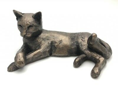 Tinkabelle Lying Cat - Frith Sculptures by Paul Jenkins Cold Cast Bronze S023