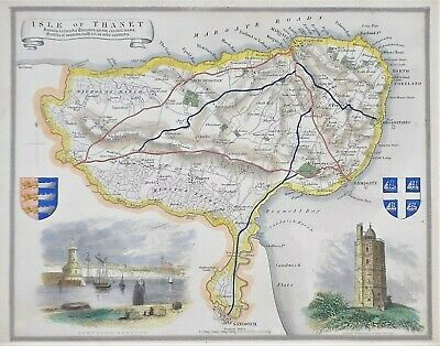 OLD ANTIQUE MAP ISLE OF THANET KENT c1840's by THOMAS MOULE  HAND COLOUR