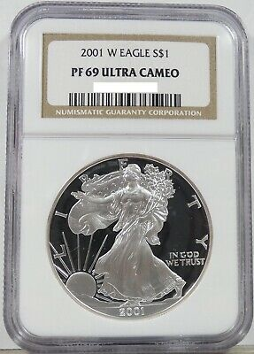 2001 W Proof American 1 oz SILVER Eagle PF69 Ultra Cameo NGC Brown Label