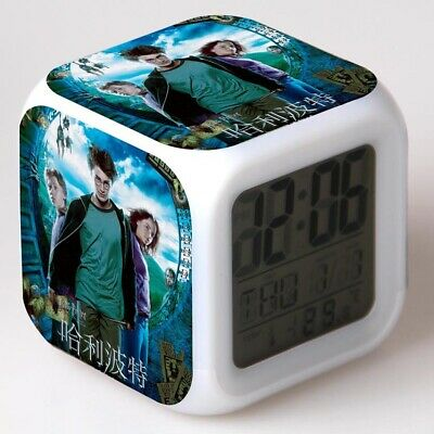 Harry Potter Hermione Ron 7-Color Changing Alarm Clock Nightlight Clock in Box