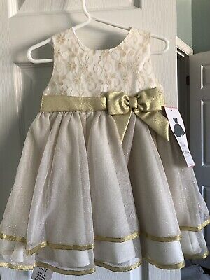 Rare Editions Baby Toddler Girl Dress 24 Months Ivory Gold Formal Metallic