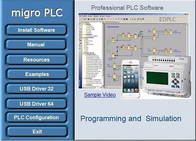PLC Programming Software Automation, Training, Logic Simulation, Examples, USB