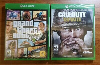 Grand Theft Auto V + Call of Duty: WWII - 2x GAME BUNDLE Xbox One - NEW!
